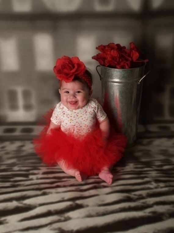 "Red Tutu - Baby's First Tutu - Custom Sewn 6"" Infant Toddler Tutu - newborn to 24 months - Halloween, 1st Birthdays and Baby Shower Gifts"