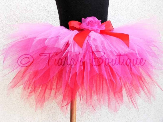 """Hearts Afire - Custom Sewn Tutu - 3 Tiered 12"""" Pixie Tutu for Infants or Toddlers - available in size newborn up to 2T"""