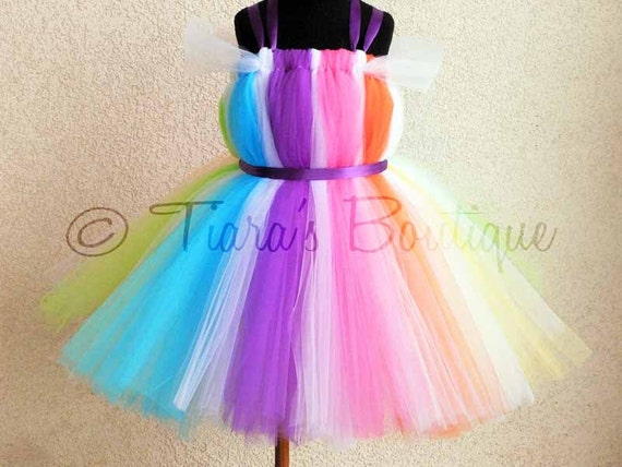 """Candyland Dreams Tutu Dress - Custom Sewn Rainbow Belted Tutu Dress - up to size 5T and 30"""" long - Perfect for Birthdays, Halloween Costumes"""