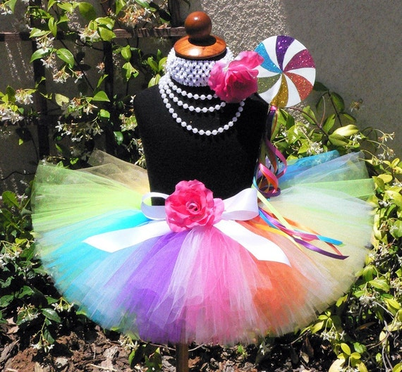 "Candyland Dreams - Rainbow Lollipop Tutu - Custom Sewn Tutu - up to 8"" long - sizes newborn up to 5T - Tutu Only"