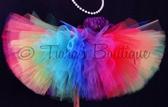 "Rainbow Tutu Sewn Halloween Tutu Headband Set - Imagine - A Magical Rainbow Birthday Tutu - 12"" Sewn Tutu - sizes up to 5T"