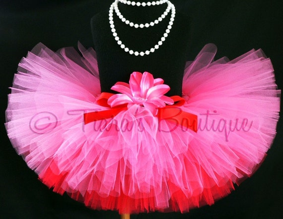 Blooming Rose - Custom Red and Hot Pink Tutu - 8'' Sewn Tutu - newborn to 5T - Perfect for Valentine's Day, Portraits, 1st Birthdays