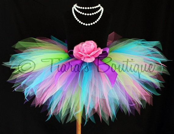 Girls Birthday Tutu and Headband Set - Color Burst - Custom Sewn 11'' Rainbow Birthday Pixie Tutu - sizes newborn up to 5T