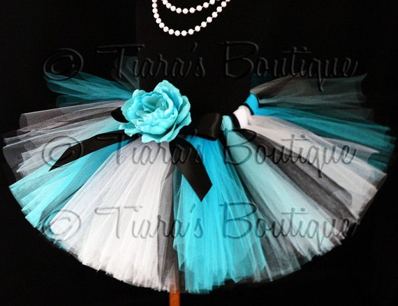 Alice Design - Custom Sewn Blue Black and White Tutu Inspired by Alice in Wonderland - size newborn to 5T