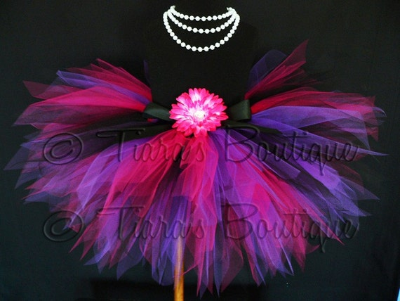 Black Pink Purple Tutu, Girls Birthday Tutu, Girls Tutu, Custom Sewn Pixie Tutu, Rockin' Diva, Tutu for Girls, Babies, Tweens