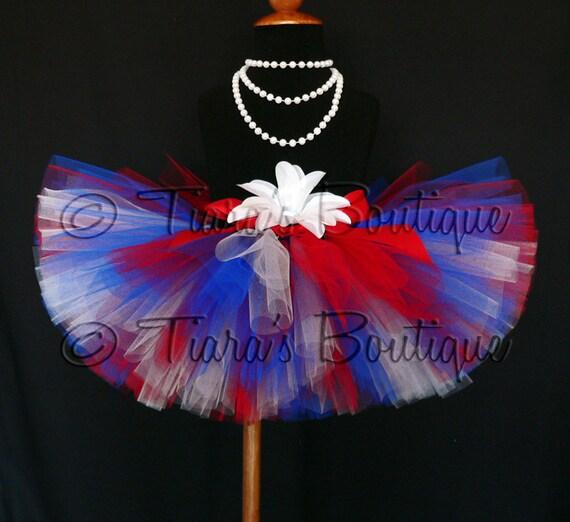 Patriotic Mix Tutu - red, white, and blue handmade tutu - custom sewn 8'' tutu - sizes Newborn to 5T - Perfect for 4th of July Celebrations