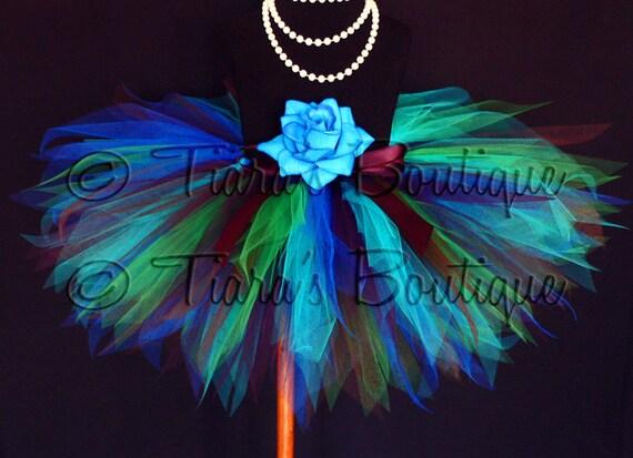 "Peacock Tutu - Blue Green Brown Purple - Sewn Tutu - Exquisite Peacock - Custom 11"" Pixie Tutu - birthday girls tutu - girls size 6 to 8"
