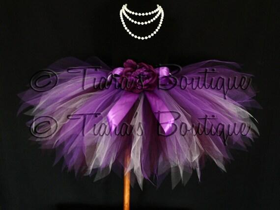 "Vibrant Violet Tutu - Plum Purple Lavender Custom Sewn 13"" Pixie Tutu - girls sizes 6 to 8"