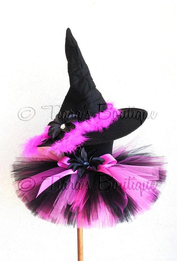 Halloween Witch Tutu Costume Set - Black Pink - Roxy, the Rockabilly Witch - Custom SEWN 8'' Tutu & Witch Hat - newborn up to 5T