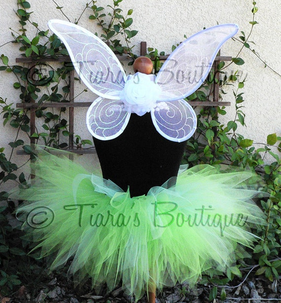 Sweet Baby Pixie Set - Green Tutu White Wings, Inspired by Tinkerbell - Infant/Toddler Pixie Wings and Pixie Tutu Set - newborn to 12 months