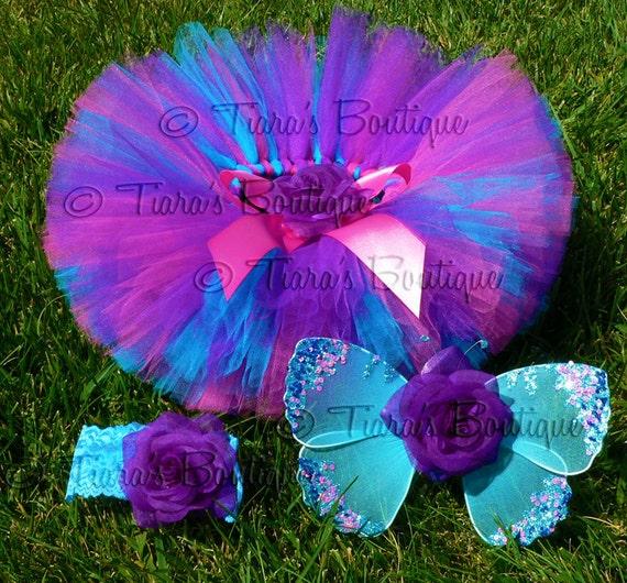 Baby Tutu Fairy Wings Costume - Berry Fairy Tutu Set - Sewn 6'' Tutu Wings & Headband - Purple Pink Blue - sizes newborn to 12 months