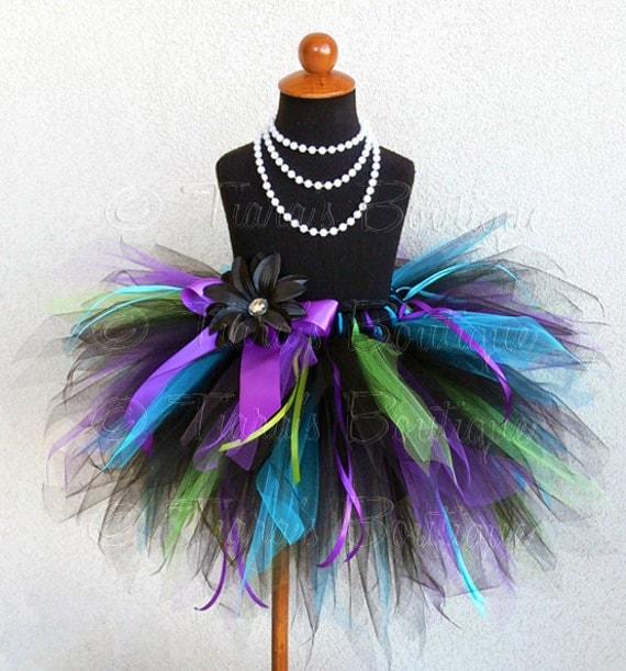 Birthday Tutu - Black Blue Purple Green - Custom Sewn 12'' 3 Tiered Pixie Tutu - Punk Rock Rainbow Tutu - sizes newborn up to 2T