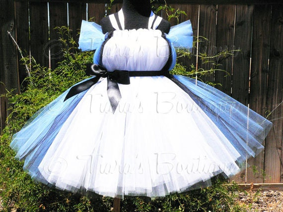 "Sewn Belted Tutu Dress w/ Apron Look - up to 5T and 30"" long - Alice in Wonderland Birthday Tutu - Halloween Costume"