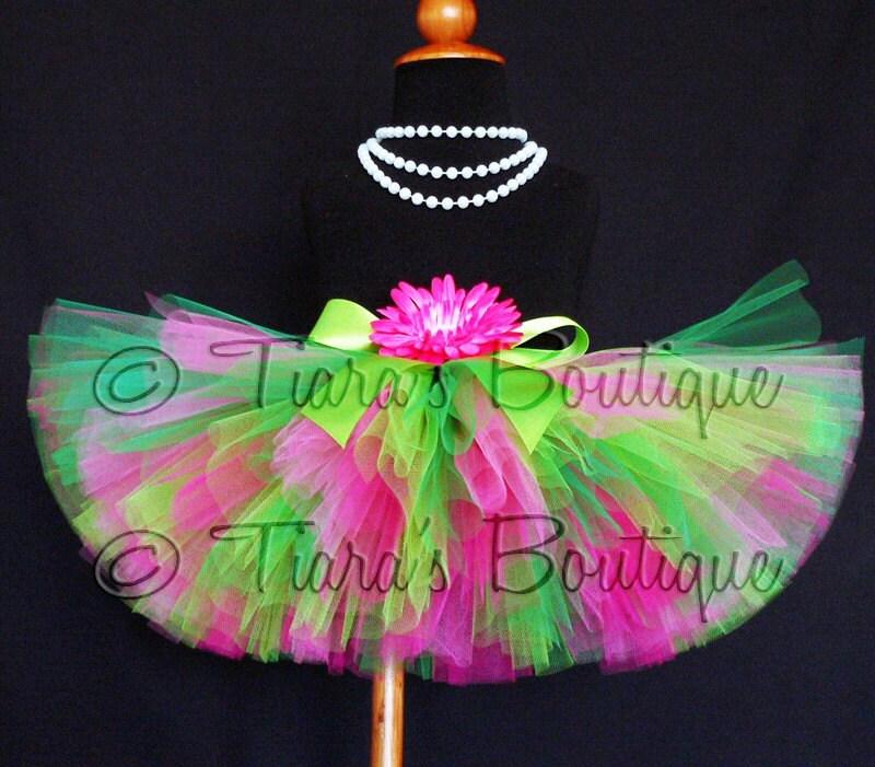 Girls Tutu Skirt Pink Green Watermelon Sour