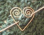 Copper Heart Shawl Pin
