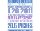 Baby Blue - Gentle Pastel - Custom Birth Announcement Gift Print - 8x10