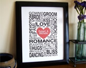 Wedding Words - Personalized Gift Print - 8x10