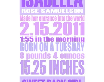 Lavender - Gentle Pastel - Custom Birth Announcement Gift Print - 8x10