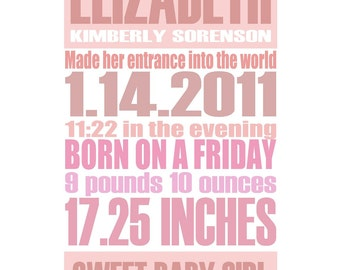 Pink - Gentle Pastel - Custom Birth Announcement Gift Print - 8x10