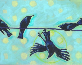 Clumsy Crow on a wire fine art print