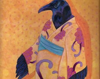 The Peony Kimono raven crow card
