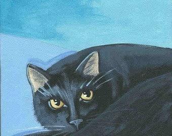 Black Cat blank greeting card