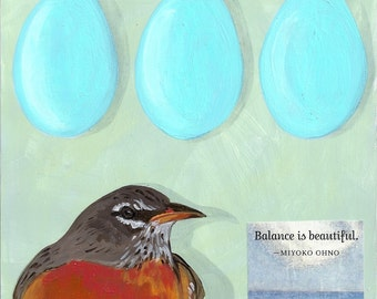 Robin and her eggs  notecard
