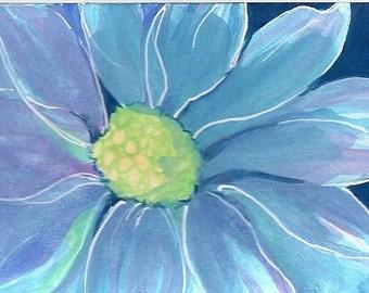 Blue Gerbera Daisy blank greeting card
