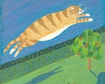 Taunting Spot flying cat greeting card