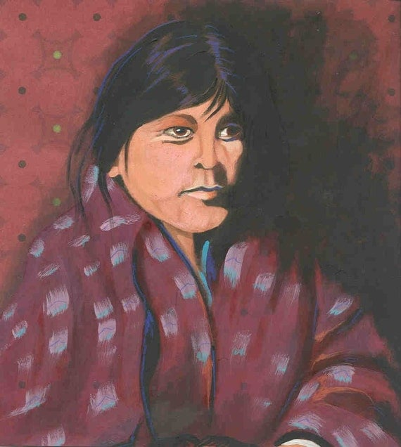 The Blanket Native American portrait greeting card