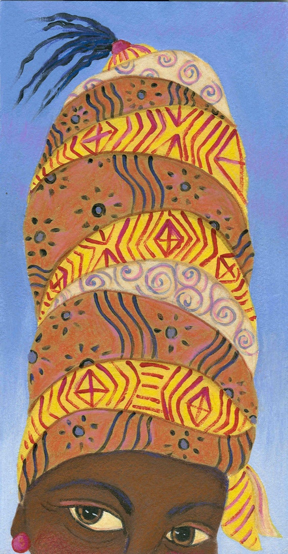 Magical Hat African Woman greeting card