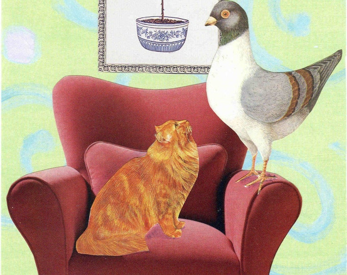 The Cat Bird Seat collage greeting card