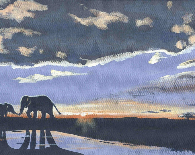Mother and baby Elephant notecard