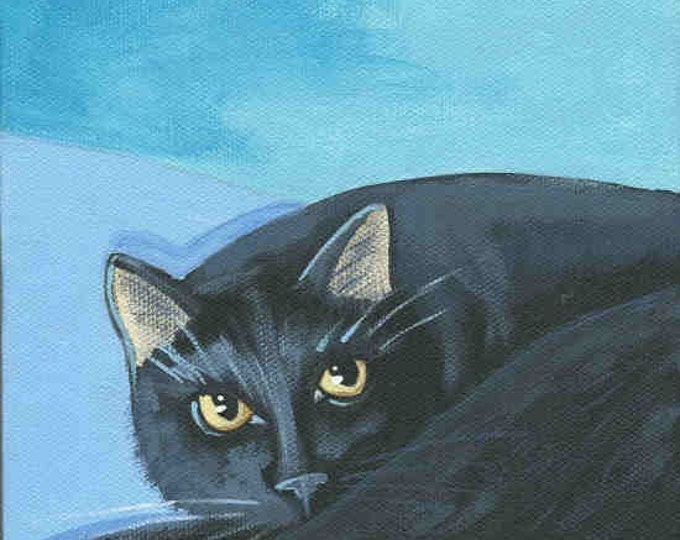 Black Cat blank greeting card