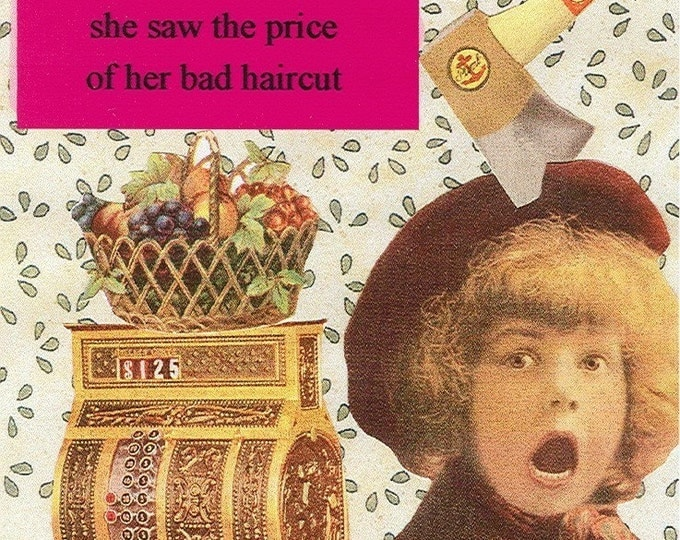 Bad Haircut collage greeting card
