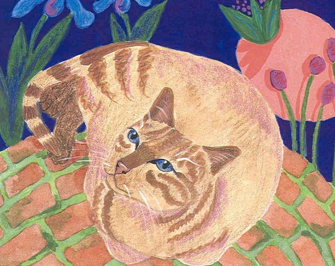 Zen Garden Kitty greeting card