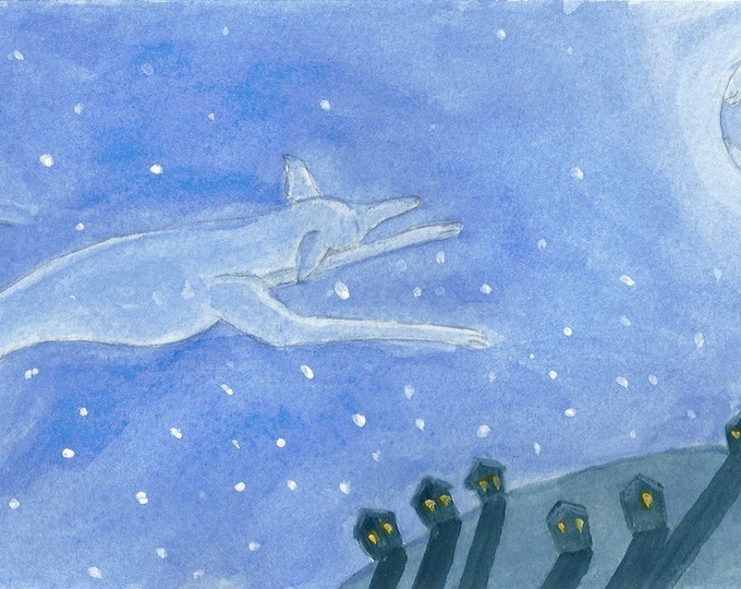 SALE Racing To Rabbit Moon original watercolor