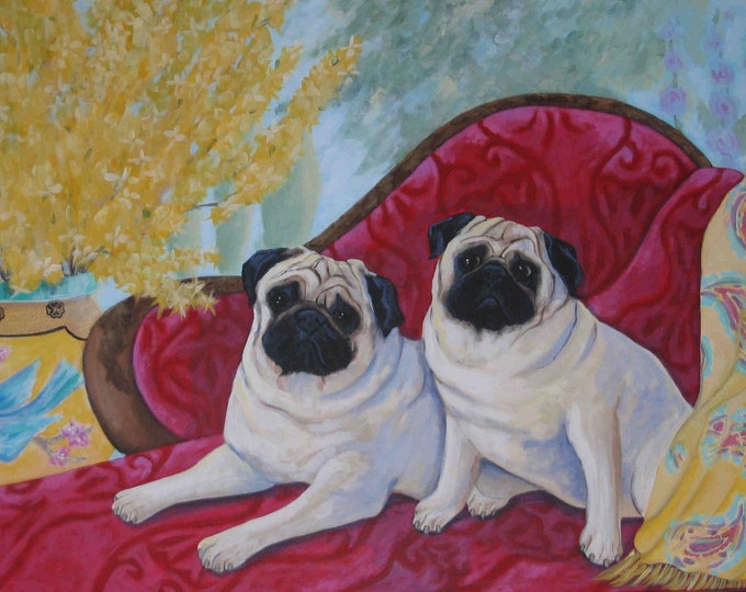 The Happy Couple pugs greeting card