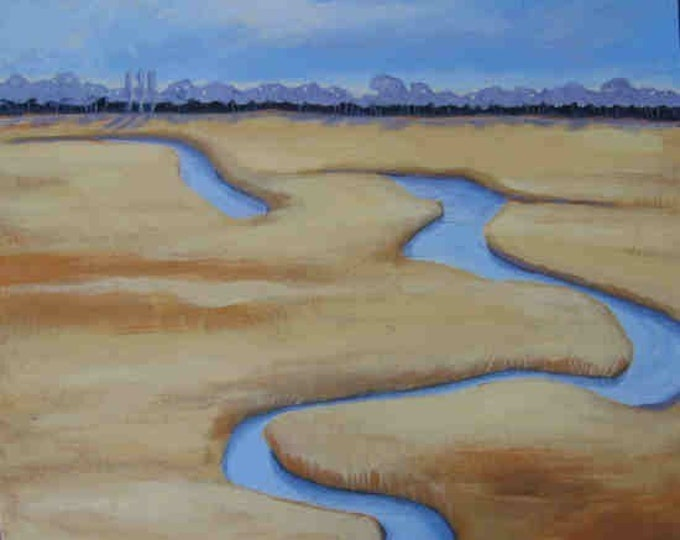 Meandering Blue marsh greeting card