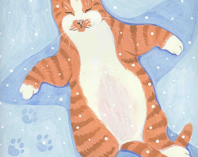 Kitty Snow Angel holiday card