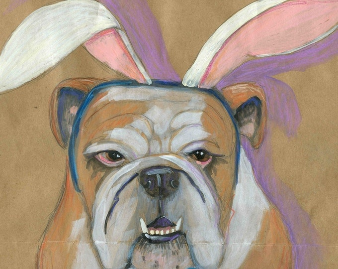 Bunny-eared Bulldog easter card blank inside