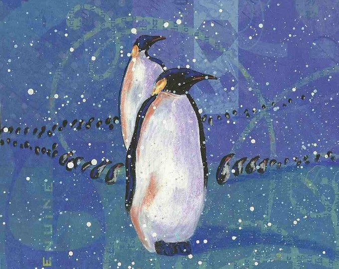 March of the Penguins winter notecard