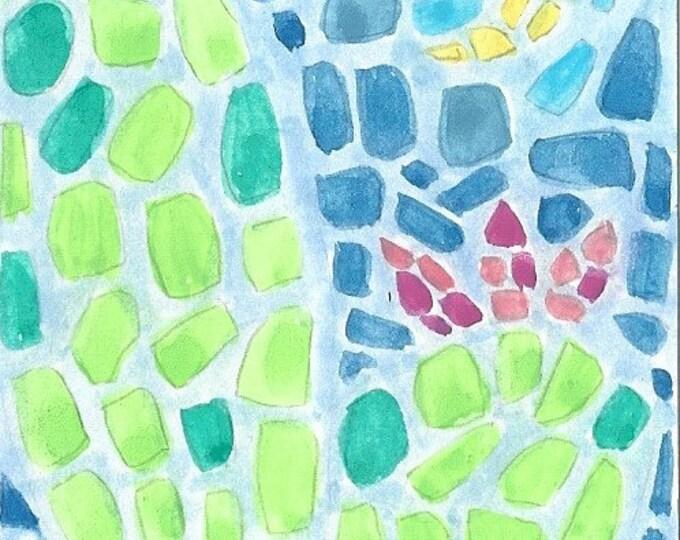 Mosaic Cactus Motif greeting card
