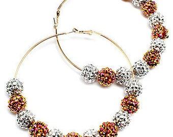 "Poparazzi Celebrity Inspired Hoops Earrings - 3 1/2"" Silver and Gold Fireball"