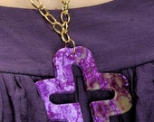 Marbled Purple Agate Cross Necklace and Coffee Agate Cross Necklace
