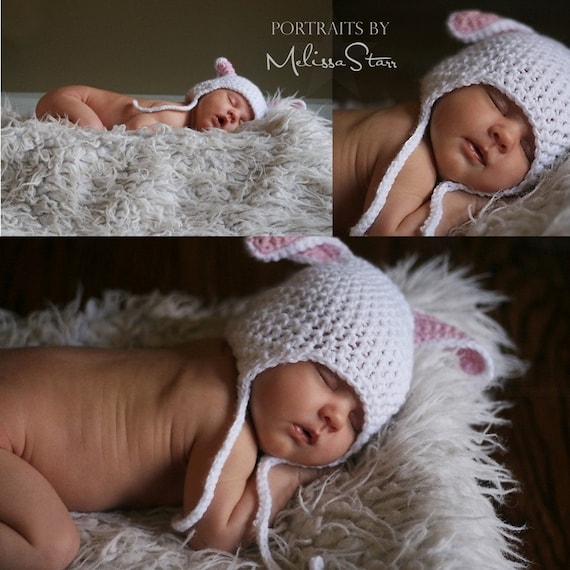 1-4 months Baby bunny hat with earflap