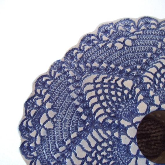doily lace ikebana vase .  blue white