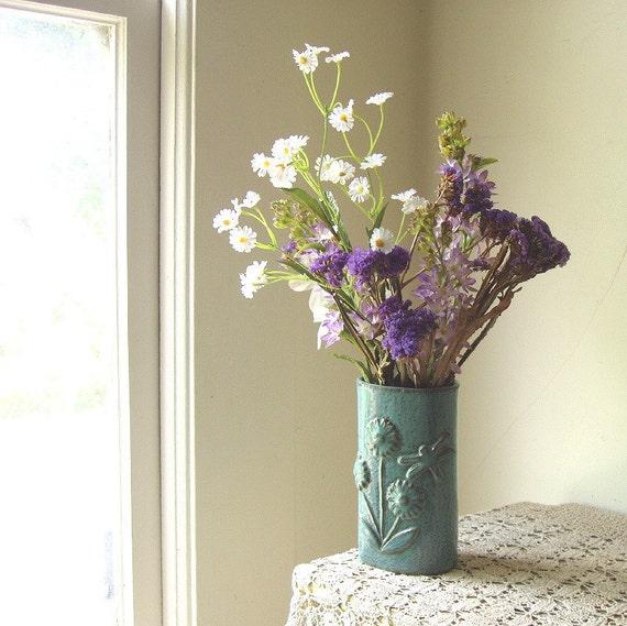 hand-built pottery vase jade dragonfly & flowers