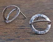 same, same but different earrings recycled sterling silver handmade hammer forged