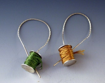 Stitchers  Earrings golden needle ear threads sterling
